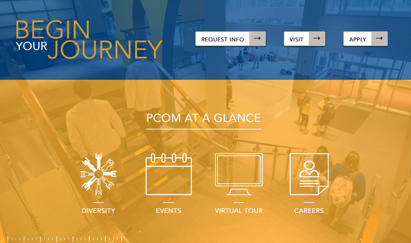 Screenshot of redesigned PCOM.edu homepage