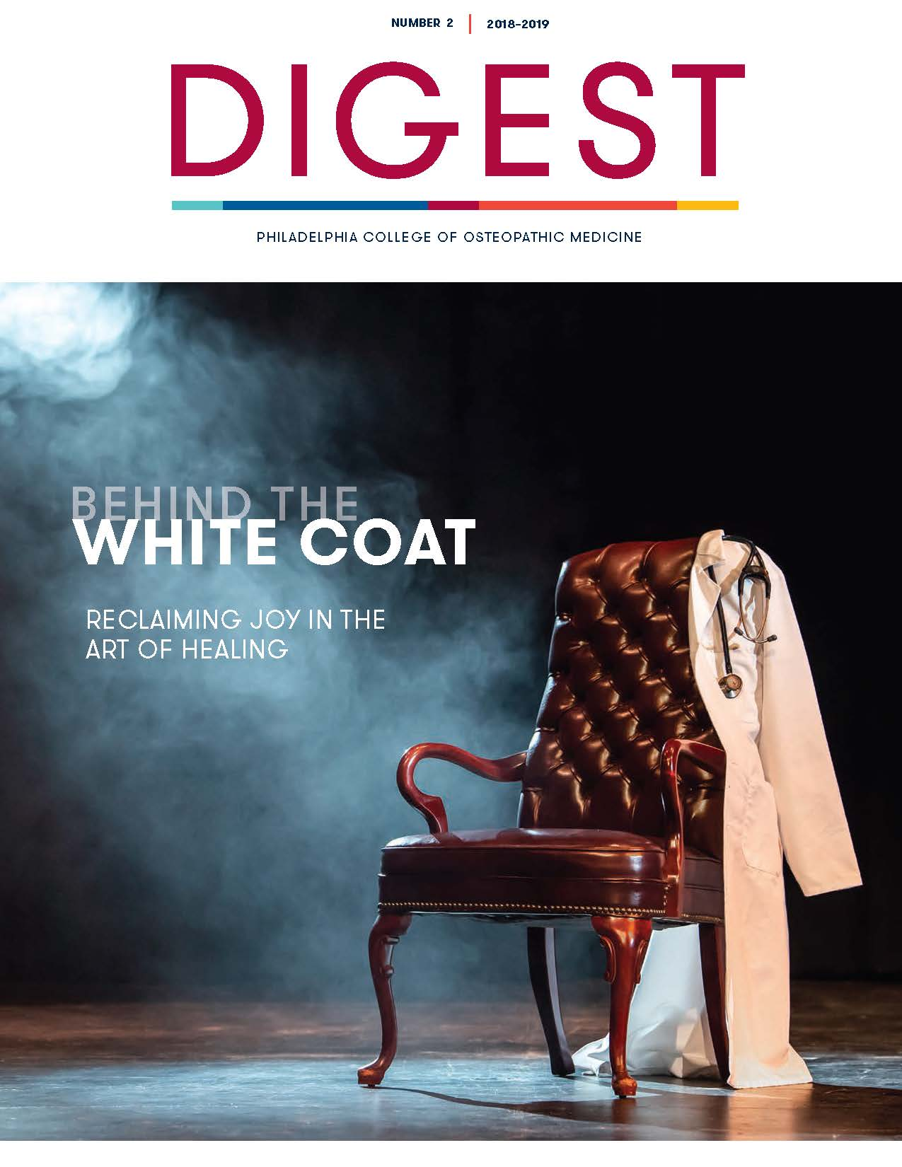 Cover of Digest Magazine, Number 2, 2018 - Behind the White Coat