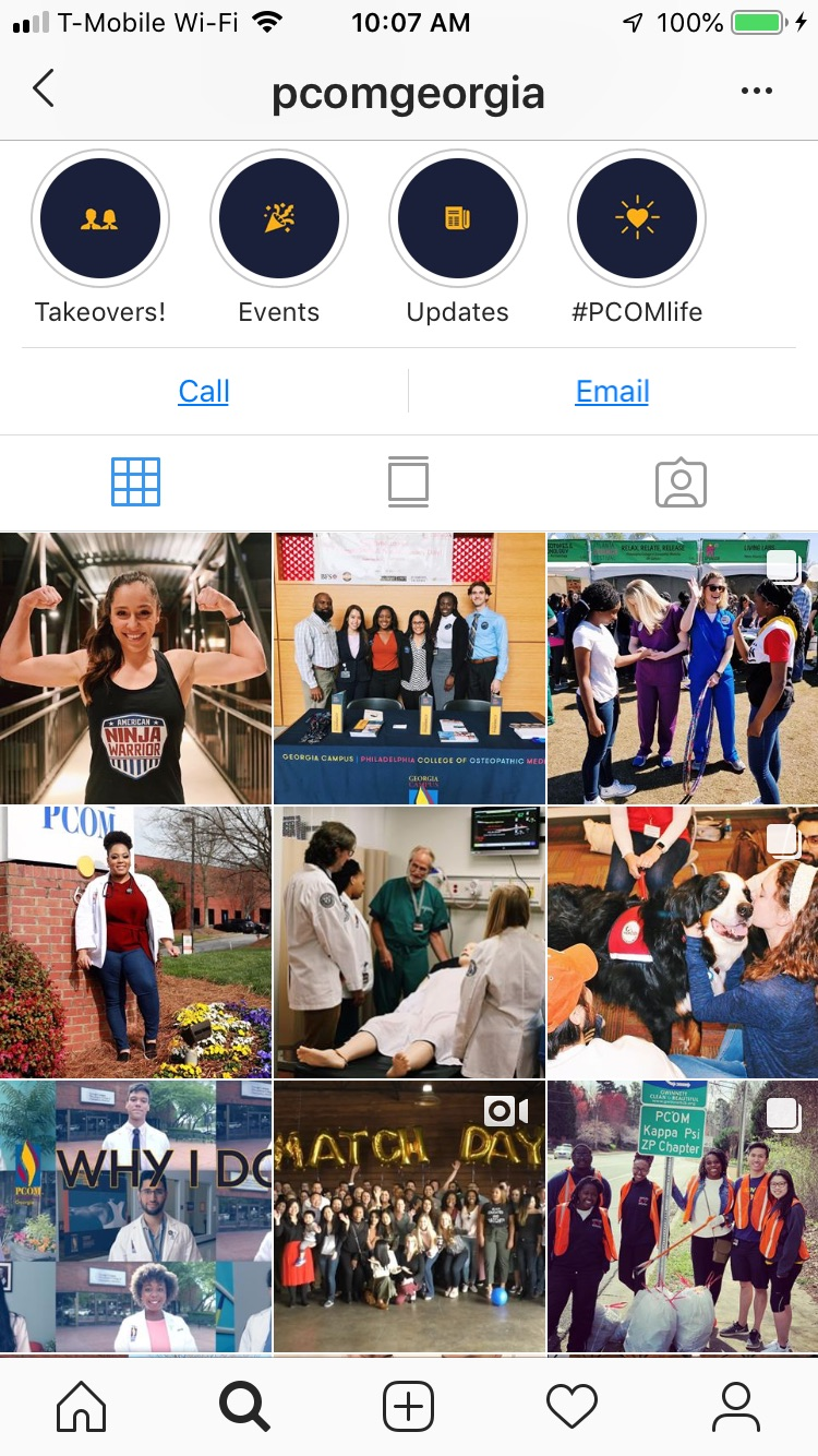 Screenshot of @pcomgeorgia instagram account feed