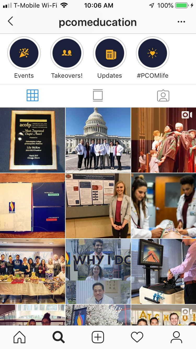 Screenshot of @pcomeducation instagram account feed
