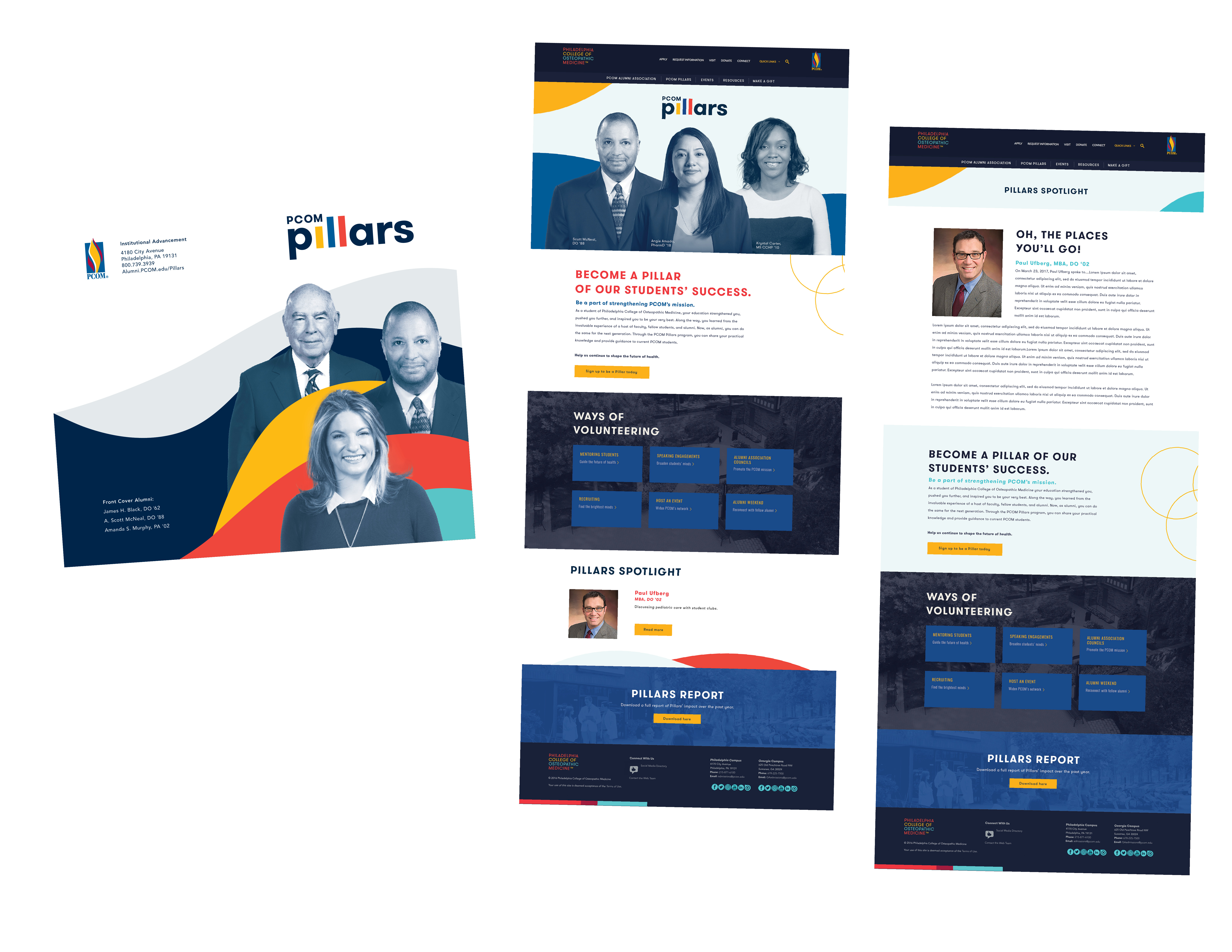 Examples of PCOM Pillars Institutional Advancement brochures