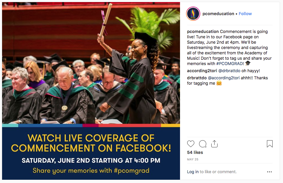 PCOM - Watch live coverage of commencement on Facebook - instagram post example