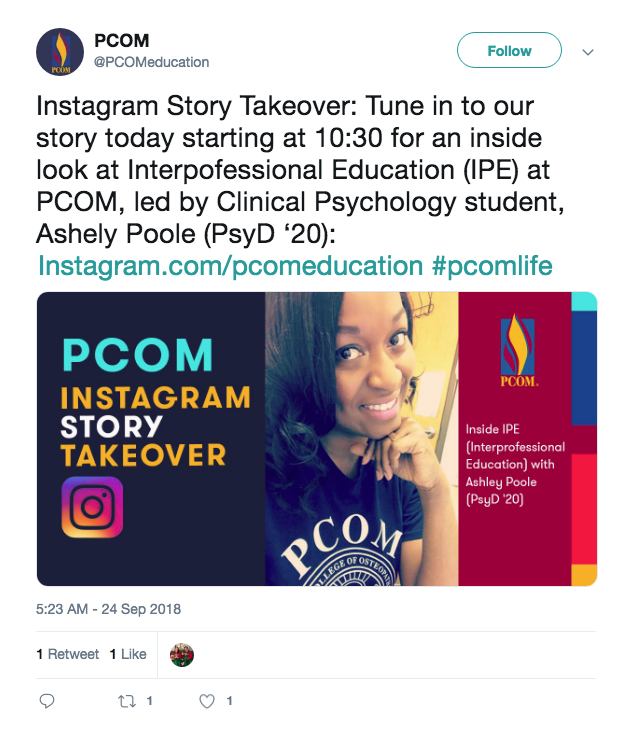 PCOM - Instagram Story Takeover - Twitter tweet example