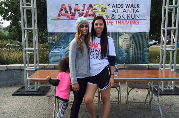 Hershika Patel (PharmD '18) posing with a friend after a fundraising run