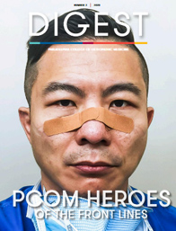 Cover of PCOM Digest Magazine 2 - 2020, showing a tired physician wearing bandages across his nose