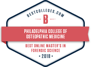 Image of BestColleges.com 2018 Award for Best Online Master's in Forensic Medicine