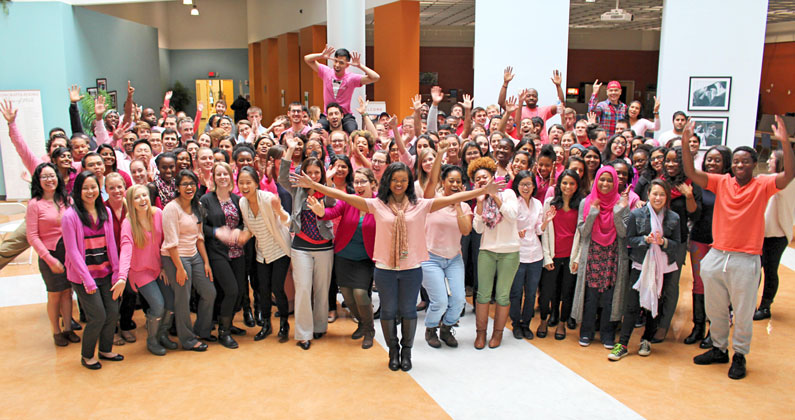 "GA-PCOM DO Class of 2018 supports classmate through ""Pink Out"" and fundraiser."