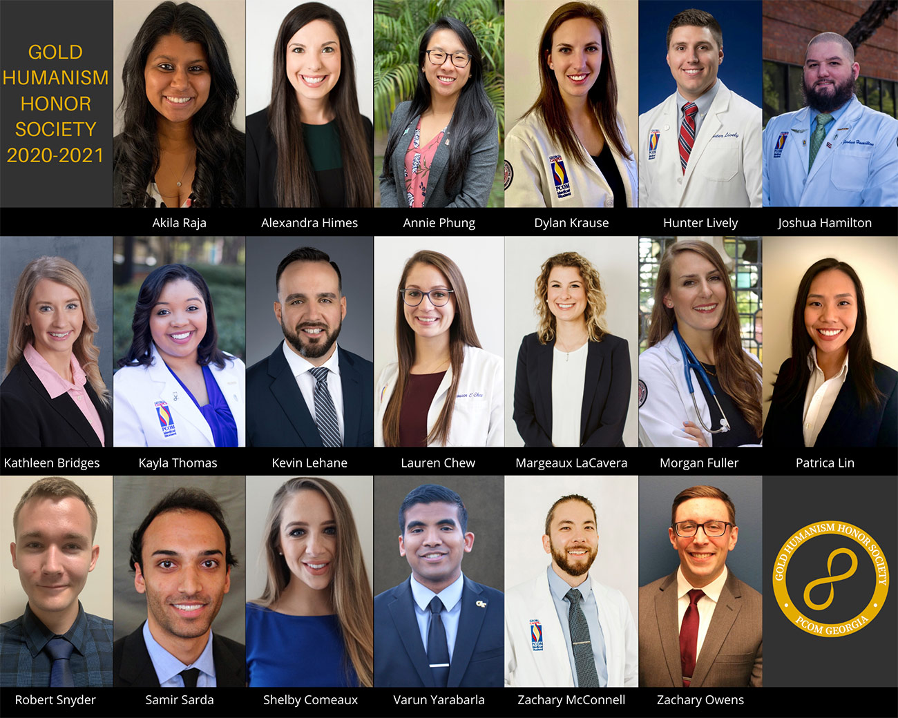 Composite image of headshot photos of PCOM Georgia medical students inducted into the Gold Humanism Honor Society