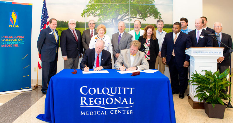 Jay Feldstein, DO, President and CEO of PCOM, is on the left. Jim Matney, President and CEO of Colquitt Regional Medical Center, is on the right.
