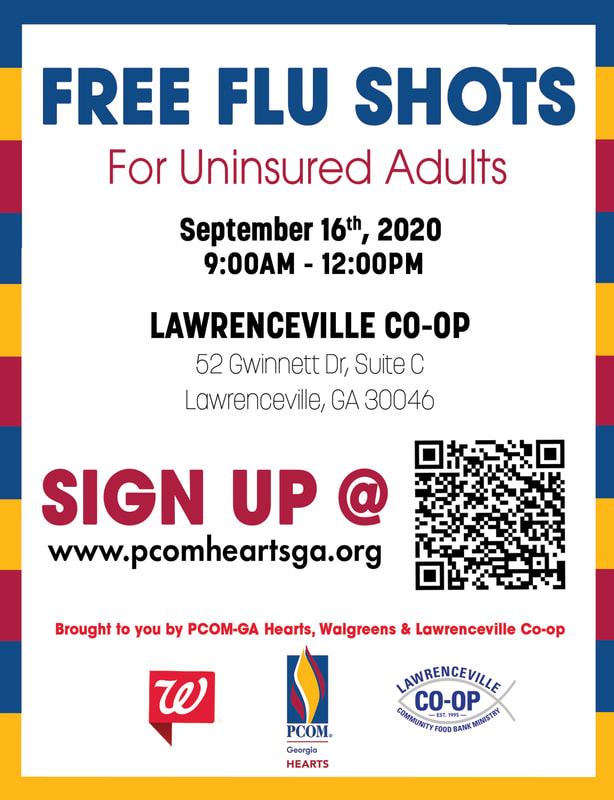 Image of a flyer showing the free flu shot clinic for uninsured adults being held by the PCOM HEARTS Club on Wednesday, September 16 at the Lawrenceville Cooperative Ministry.